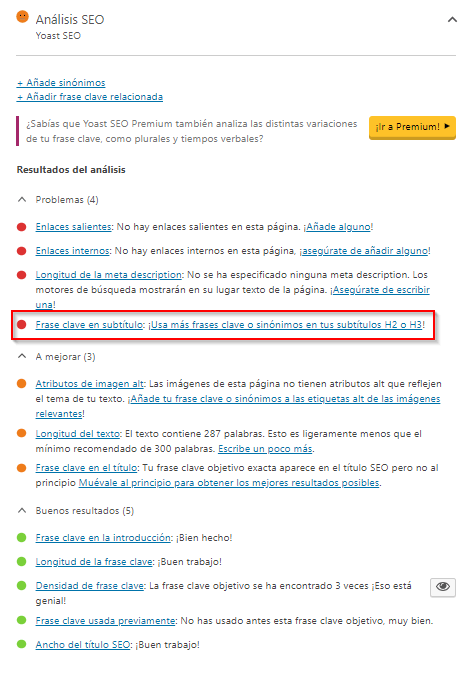 Semáforo de advertencia de Yoast SEO en las entradas de WordPress